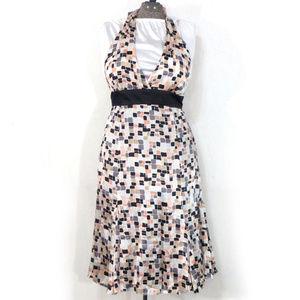 Kaya di Koko Cube Print Silk Halter Dress